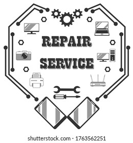 Repair service, diagnostics and maintenance of digital, video and computer equipment - stylish retro logo in the form of a mechanical, digital heart with inscription. Vector isolated on white