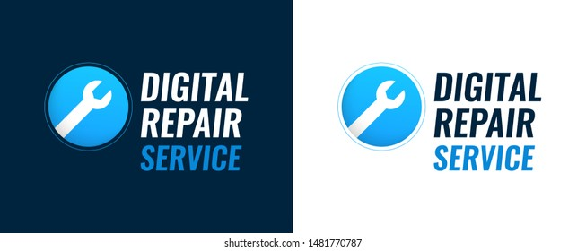 Repair Service of digital equipment - Vector illustration with spanner and captions isolated on white and dark background.