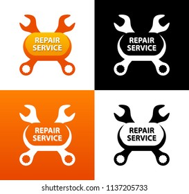 Repair Service, Emblem with crest of Wrenches. Vector Logo isolated on white, orange and black background.