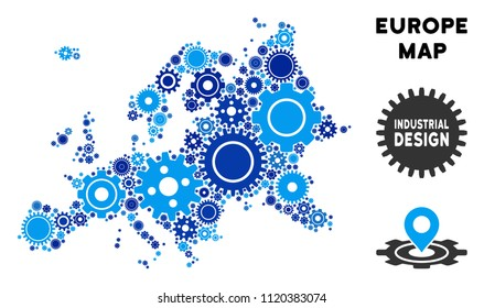 Repair Service Europe map mosaic of gears. Abstract territorial scheme in blue color tints. Vector Europe map is composed with gearwheels. Concept of mechanic service.