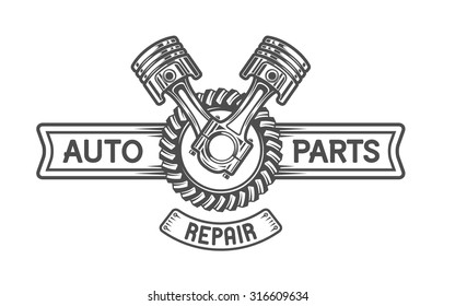Repair Service. Gear and pistons. Auto emblem.