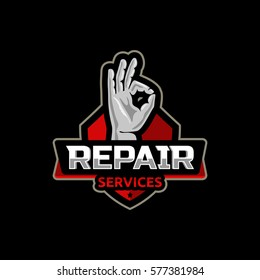Repair service logo icon emblem vector design .