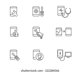 Repair, service and maintenance icons for mobile or smart phone