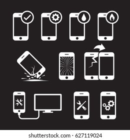 Repair, service and maintenance mobile or smart phone icons set. White on a black background