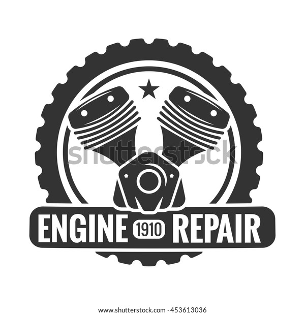 Repair Service. Motorcycle engine. Logo emblem template.