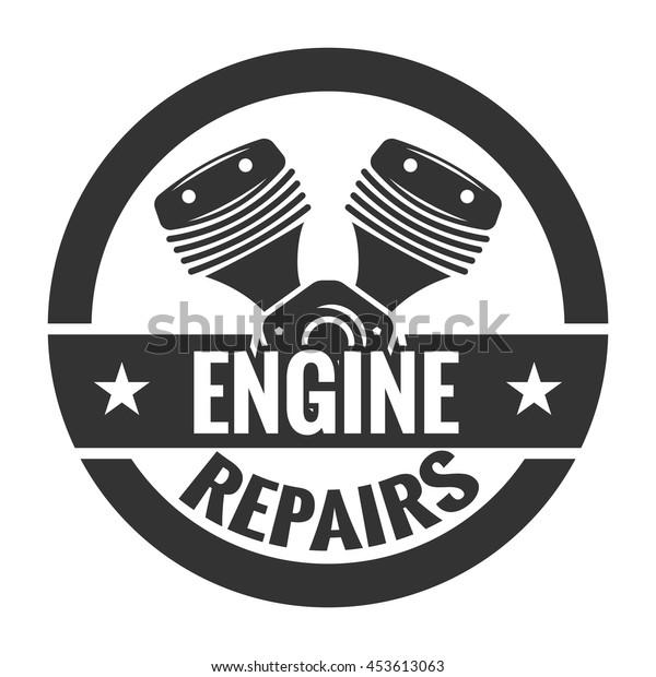 Repair Service. Motorcycle engine. Logo emblem template.