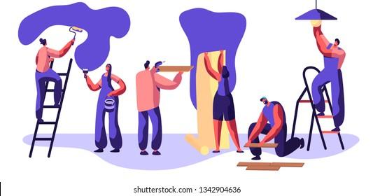 Repair Service Professional Worker. Craftsman to Paint Wall Roller in Hand. Woman Glues Wallpaper. Man Lay Laminate Floor. Workman on Ladder Change Light Bulb. Flat Cartoon Vector Illustration