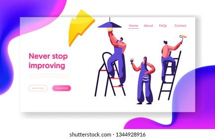 Repair Service Professional Worker Landing Page. Workman on Ladder Change Light Bulb, Paint Wall Brush and Roller . Renovation Team Work in Room Website or Web Page. Flat Cartoon Vector Illustration