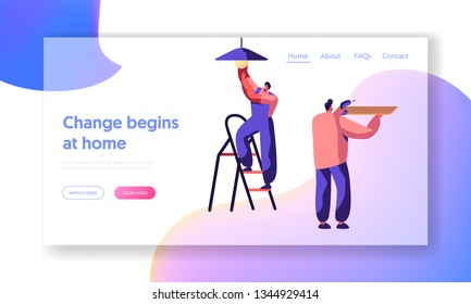 Repair Service Professional Worker Landing Page. Workman on Ladder Change Light Bulb. Man Keep Hand Drill. Renovation Team Work in Room Website or Web Page. Flat Cartoon Vector Illustration