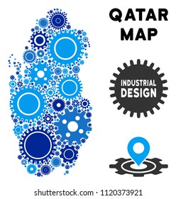 Repair Service Qatar map composition of cogs. Abstract territory plan in blue shades. Vector Qatar map is shaped of cogs. Concept of tuning work.