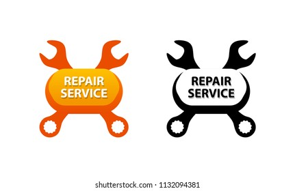 Repair Service, Symbol for decoration of Auto Garage Business. Set of Vector Illustrations in orange and black colors.
