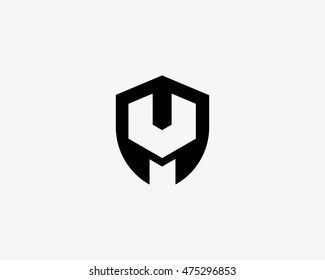 Repair service tool shop sign logotype. Shield wrench icon creative mechanic symbol logo icon. Negative space symbol.