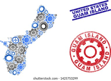 Repair service vector Guam Island map composition and stamps. Abstract Guam Island map is created from gradiented scattered gear wheels. Engineering territory plan in gray and blue colors,