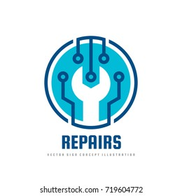 Repair service vector logo template concept illustration. Wrench symbol. Abstract technology electronic sign. Design element.