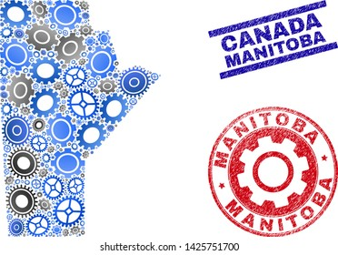 Repair service vector Manitoba Province map composition and seals. Abstract Manitoba Province map is designed with gradient random gearwheels. Engineering territory plan in gray and blue colors,