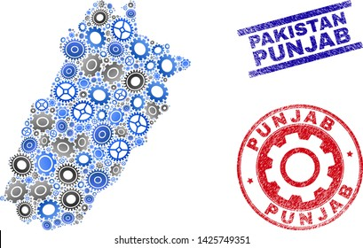 Repair service vector Punjab Province map mosaic and seals. Abstract Punjab Province map is designed from gradiented random gearwheels. Engineering territory plan in gray and blue colors,