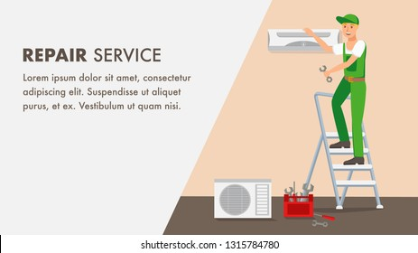 Repair Service Website Banner Vector Template. Repairer Cartoon Character. Man Fix Air Conditioning. Indoor Color Illustration. Ladder, Tool Box, Split System. Flat Design Web Page Idea, Text Space