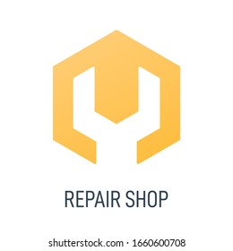 Repair shop logo. Wrench or spanner inside hexagon. Repair service or maintenance concept. Maintenance logo or icon. Vector illustration