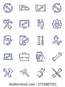 Repair signs thin icon set. Wrench symbol, spanner in human hand, on screen, on truck, maintenance tools, toolkit. Line icons for technical support, service, engineering, setup concept
