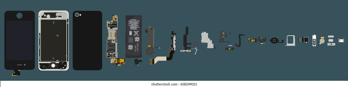 Repair the smartphone. disassembled phone components. vector. clipart isolated
