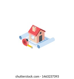 Repair, tape measure, house drawing. Vector 3d isometric, color web icons set, new flat style. Creative illustration, idea for infographics.