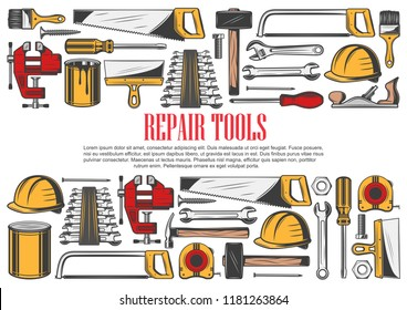Repair tools with border of house renovation and carpentry equipment. Hammer, screwdriver and wrench, spanner, paint and brush, screw, tape measure and spatula, hard hat and saw tool