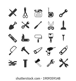 repair tools icon set with hammer, wrench and screwdriver, drill, nails, cutter, painting roller, saw, tool box