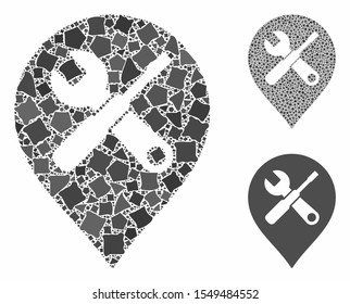 Repair tools map marker mosaic of rugged elements in various sizes and color tones, based on repair tools map marker icon. Vector rugged pieces are combined into collage.