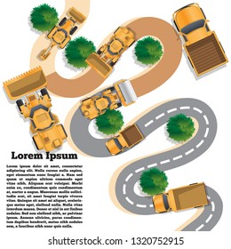 Repair of a winding road. View from above. Vector illustration. The template for the presentation.