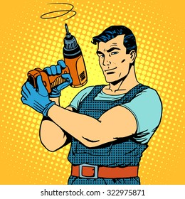Repair work with a drill pop art retro style. Male professional homework