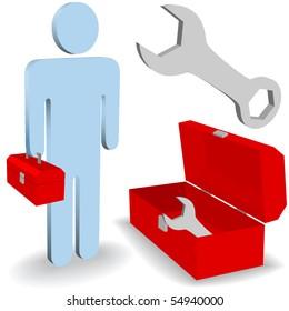 A repair work man fix it person tool box icon symbol set.