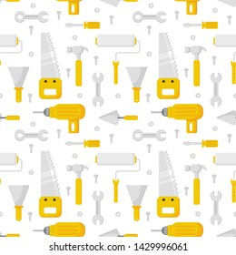 repair work tool seamless pattern cartoon style isolated on white background. illustration vector.