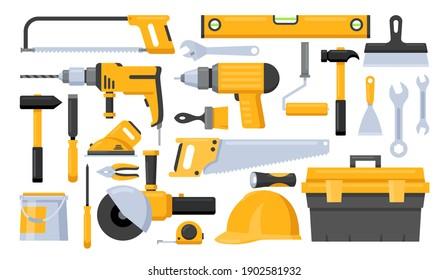 Repair worker tools vector illustration set. Cartoon yellow hand instrument equipment for work on construction home renovation, diy toolbox, saw ruler screwdriver hammer plastering trowel paint brush