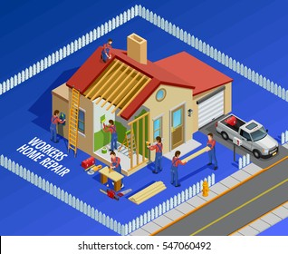 Repair works isometric template with house workers and different maintenance restoration on blue background vector illustration