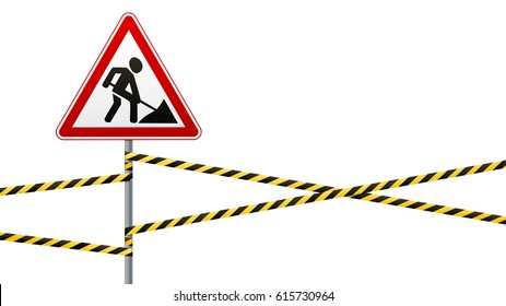 Repair works. Sign and barrier tapes. Isolated object. Vector illustration.