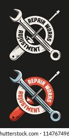 Repair workshop emblem template - crossed wrench and screwdriver.