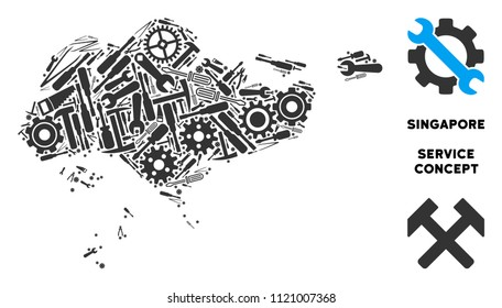 Repair workshop Singapore map composition of instruments. Abstract territorial scheme in gray color. Vector Singapore map is made with gearwheels, hammers and other machinery objects.
