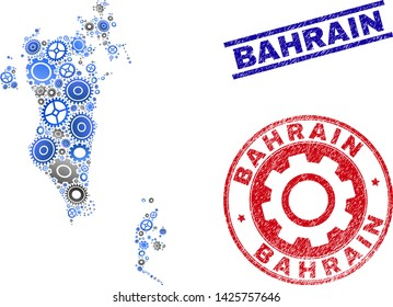 Repair workshop vector Bahrain map composition and stamps. Abstract Bahrain map is done from gradiented randomized gearwheels. Engineering geographic scheme in gray and blue colors,