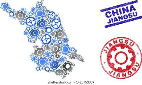 Repair workshop vector Jiangsu Province map mosaic and seals. Abstract Jiangsu Province map is done of gradient scattered gearwheels. Engineering geographic scheme in gray and blue colors,