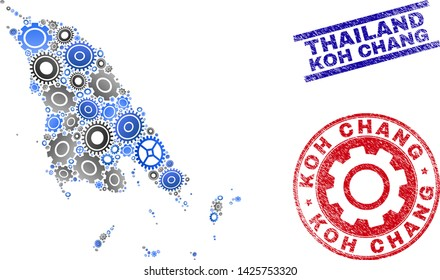 Repair workshop vector Koh Chang map composition and seals. Abstract Koh Chang map is done with gradient scattered gearwheels. Engineering geographic plan in gray and blue colors,