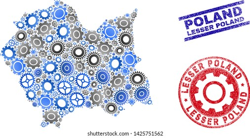 Repair workshop vector Lesser Poland Voivodeship map mosaic and stamps. Abstract Lesser Poland Voivodeship map is formed from gradiented randomized gearwheels.