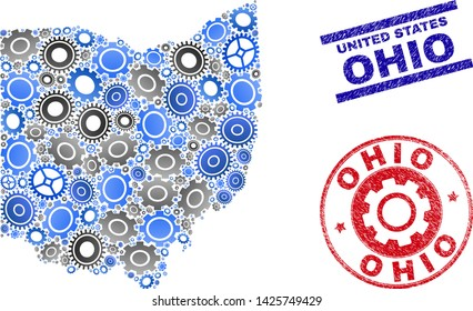 Repair workshop vector Ohio State map composition and seals. Abstract Ohio State map is composed with gradiented random gearwheels. Engineering territorial plan in gray and blue colors,