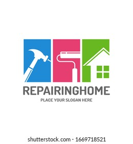 Repairing home vector logo template. This design use hammer, brush and house symbol. Suitable for renovate.