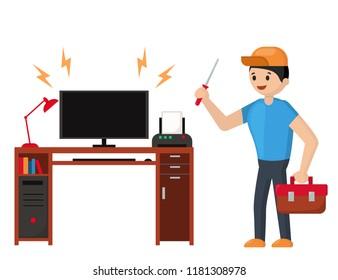 Repairman and a broken computer. Customer Service. Repairs under warranty. Flat vector illustration.