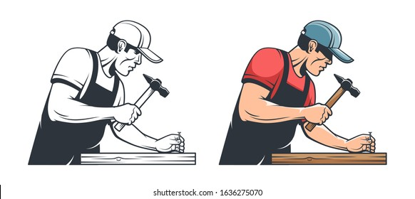 Repairman carpenter hammering a nail - retro illustration. Handyman with hammer - vintage vector image.