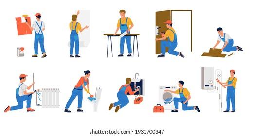 Repairman. Cartoon workmen making renovation. Building brigade painting and gluing wallpaper. Plumbers fixing leaking in pipes or cleaning plumbing. Men repairing household appliances, vector set