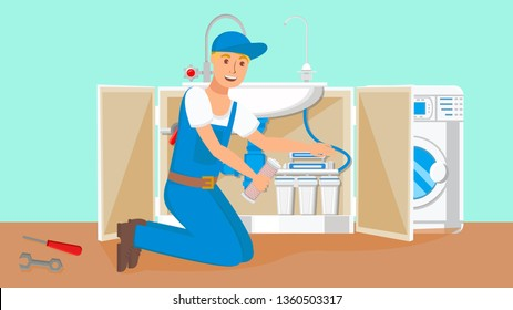 Repairman Changing Water Filter Cartridges. Drinkable Water Filtration System in Open Kitchen Cabinet. Washing Machine in Bathroom. Young Plumber Cartoon Character. Professional Tools, Instruments