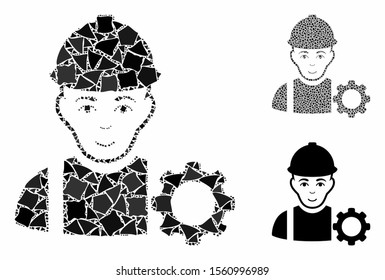 Repairman composition of abrupt items in variable sizes and color tinges, based on repairman icon. Vector abrupt items are combined into composition. Repairman icons collage with dotted pattern.