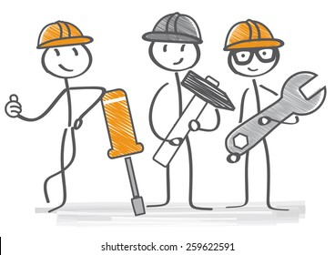 Repairman with different tools provide service