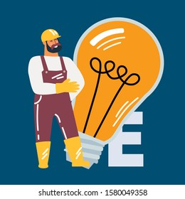 The repairman fixes the problem with the power supply. Male character in a work suit, repairman makes repairs. Light bulbs, fuses.  Flat cartoon vector illustration, electricity, electrician. People m